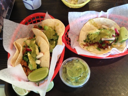 Chorizo and al Pastor Tacos at Sol Mexican Grill