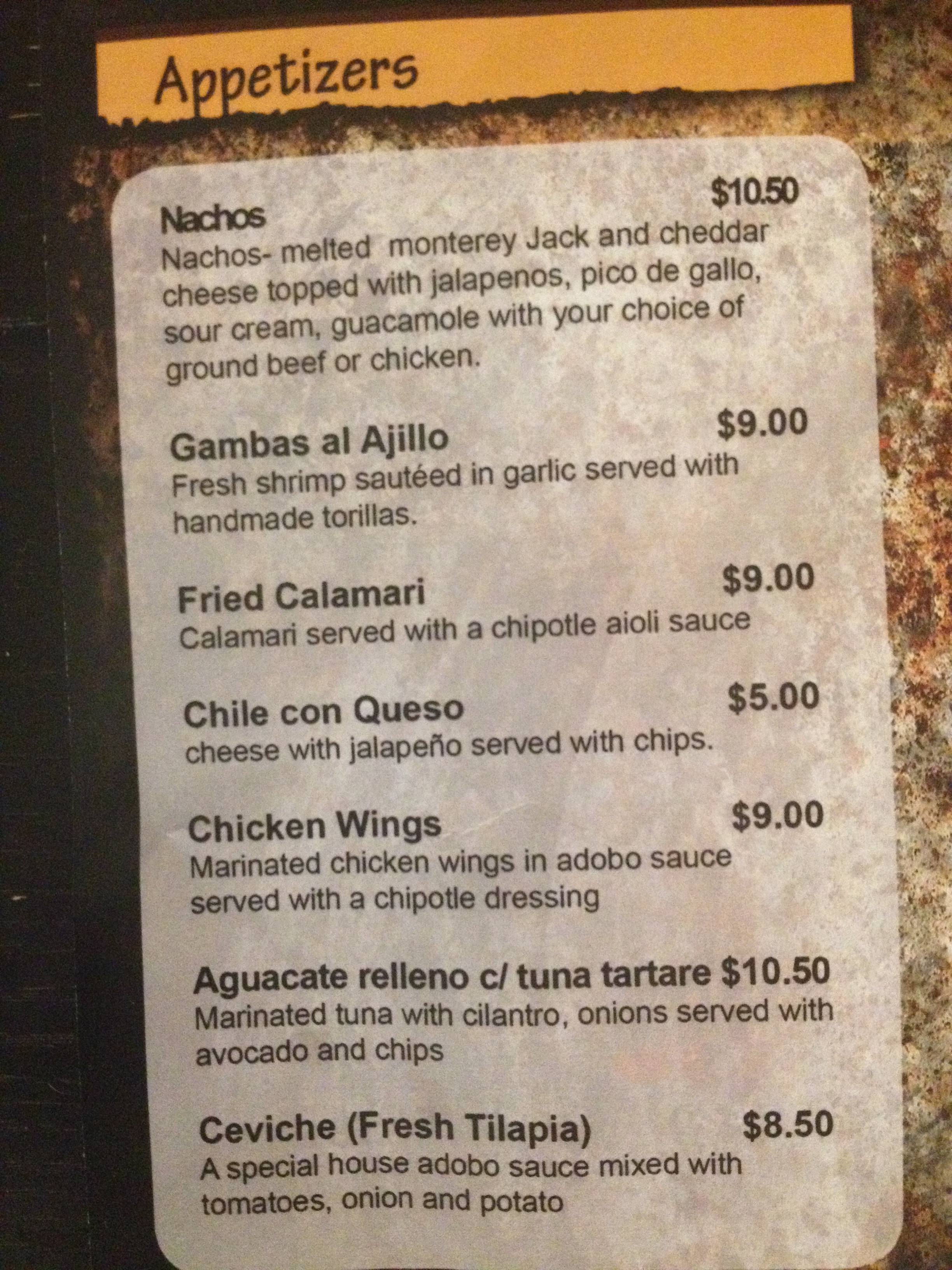 Upstairs Menu At Sol Mexican Grill District Cuisine