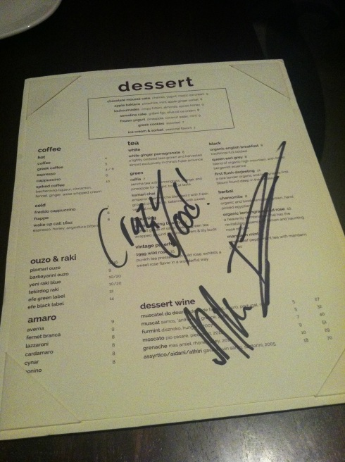 Signed Menu from Kapnos