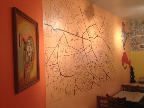 Street Map Painted on the Wall at Indigo