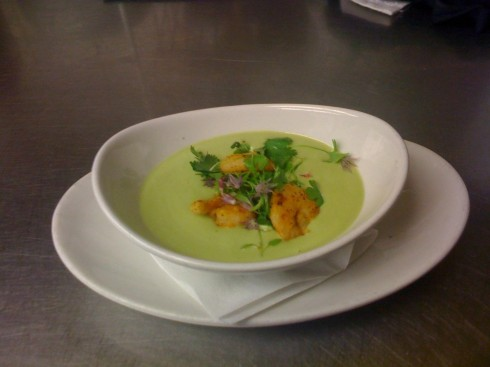 Chilled Avocado Soup with Pickled Shrimp at DC Harvest
