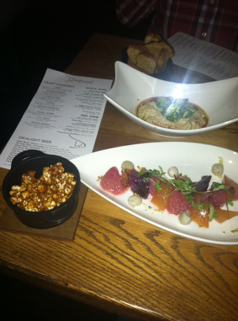 """Snacks"" at Driftwood Kitchen"