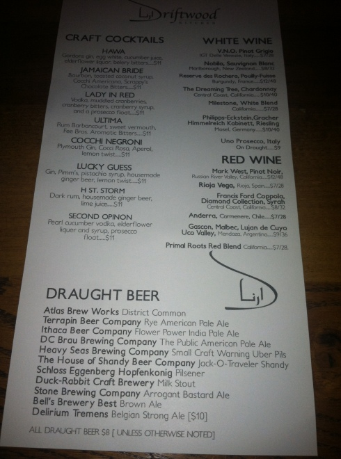 Driftwood Kitchen Drink Menu