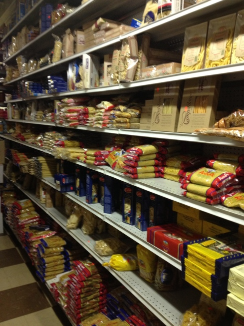 Shelves of Dried Pasta at A. Litteri