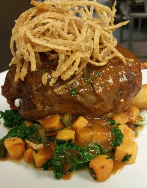 New Braised Pork Shank with Sweet Potato Hash at Watershed