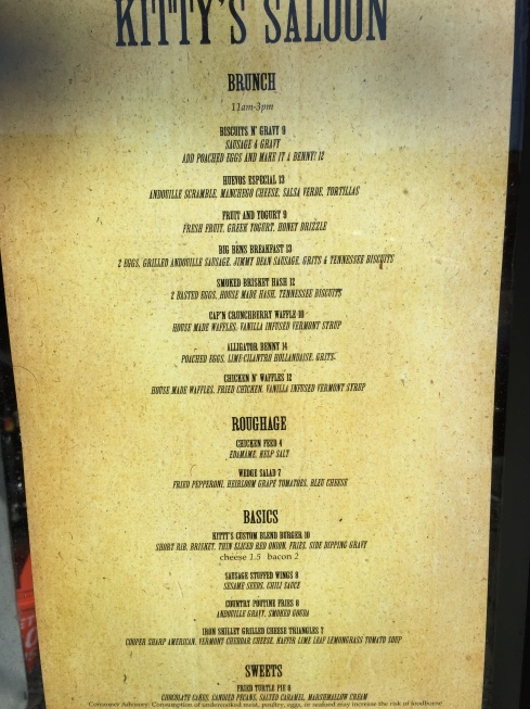 Menu for Brunch at Kitty's Saloon