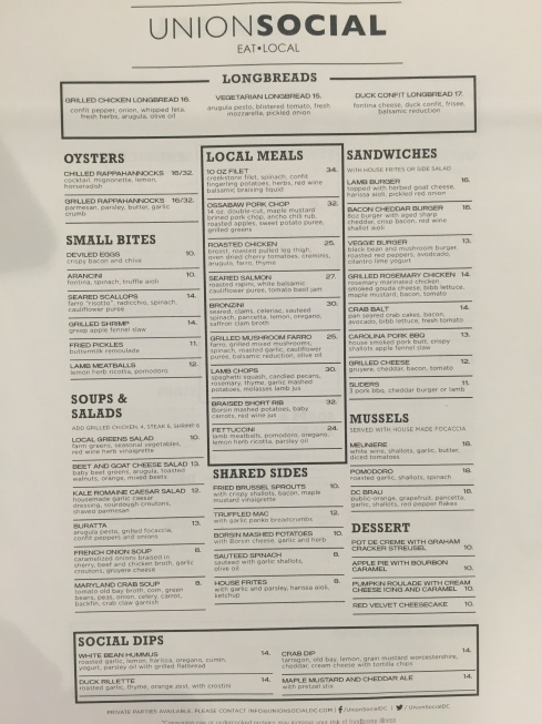 Full Dinner Menu at Union Social