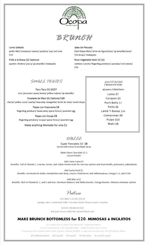 Brunch Menu at Ocopa