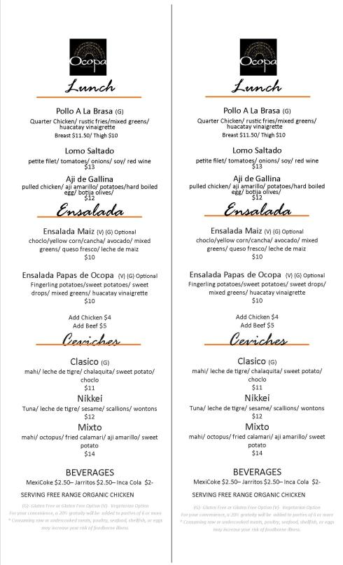 Lunch Menu at Ocopa