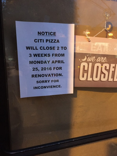 Sign Posted at New Citi Pizza on H Street
