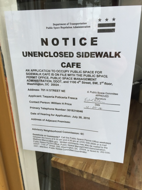Sidewalk Cafe Notice for Taqueria and Rosticeria Fresca