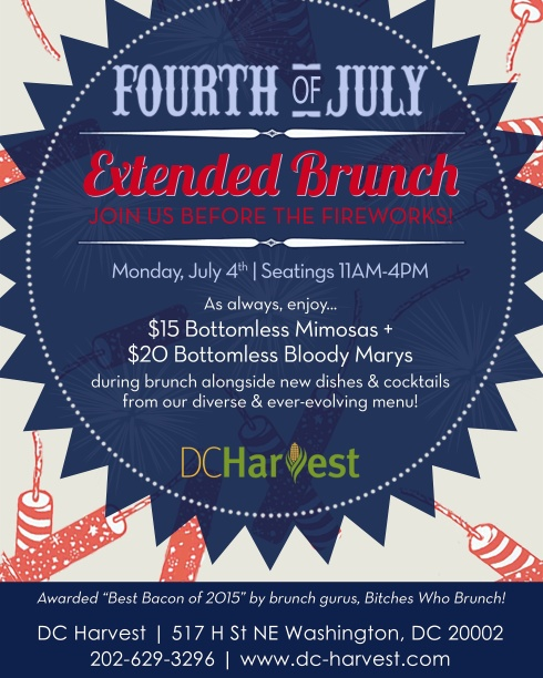 Extended Brunch at DC Harvest for 4th of July