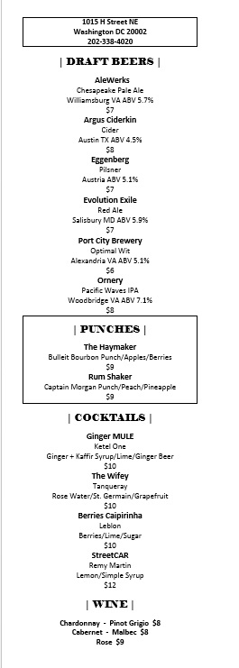 Drink Menu for The Haymaker Bar