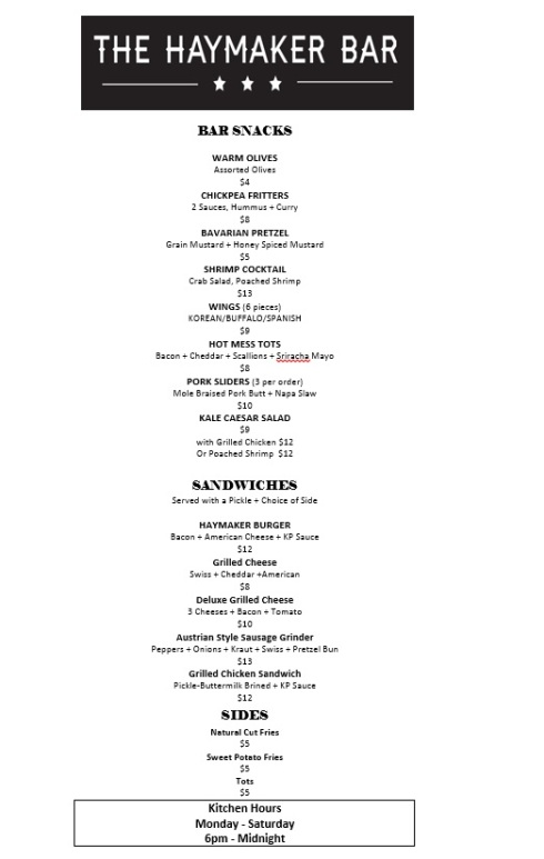 Food Menu for The Haymaker Bar